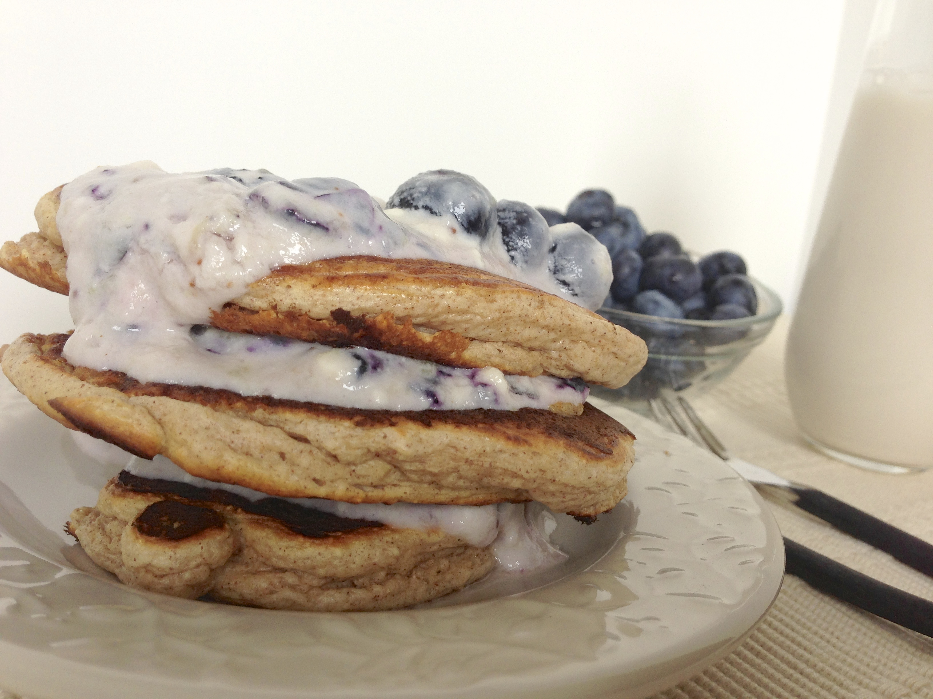 Protein Pancakes with Healthy Blueberry Cheesecake Frosting ...