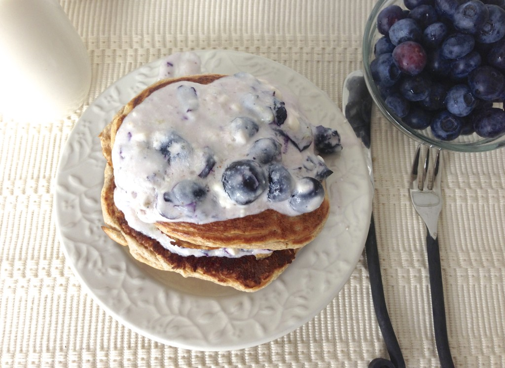 Protein Pancakes with Healthy Blueberry Cheesecake Frosting, by ...