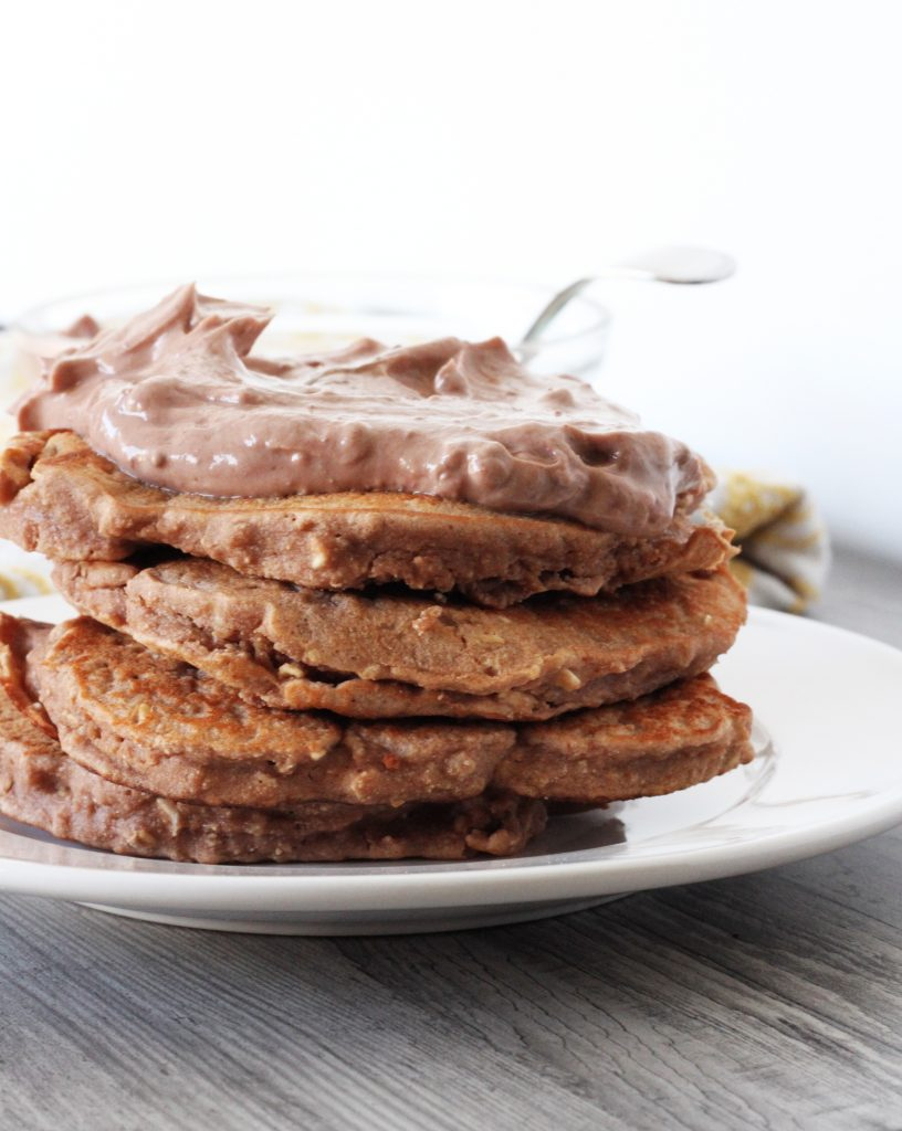 Chocolate Coconut Protein Pancakes with Healthy Chocolate Frosting ...
