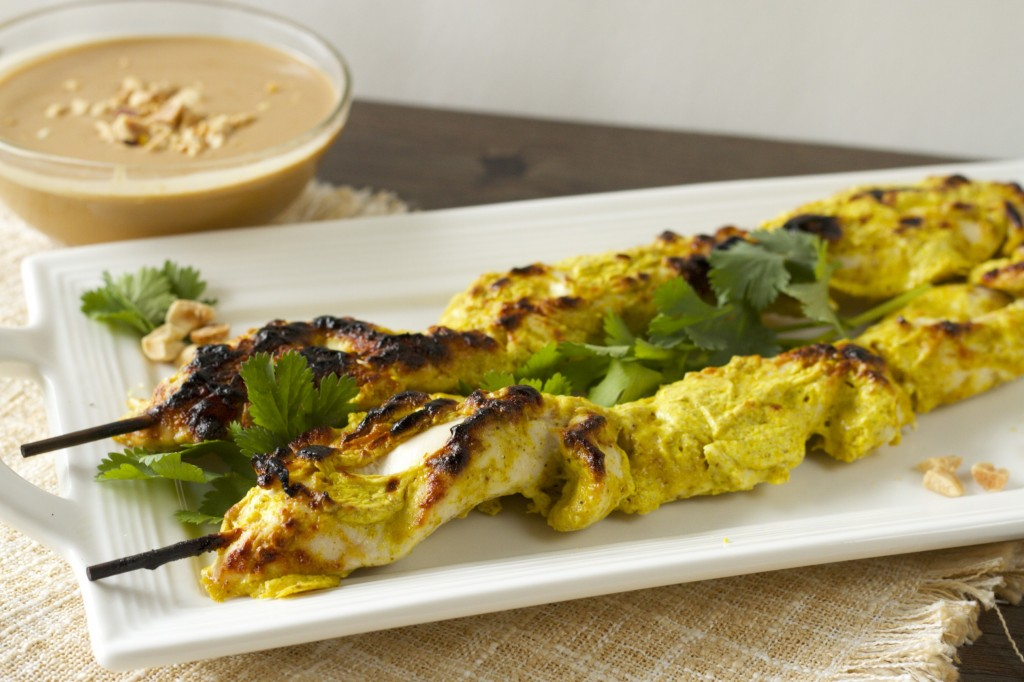 Healthy Chicken Satay Skewers with Peanut Dipping Sauce. This incredibly moist & flavorful chicken will blow you away! Click for recipe!