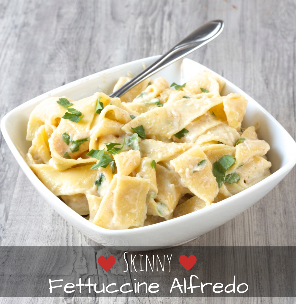 Skinny Fettuccine Alfredo. Only 364 calories, versus Olive Gardens 1090! This recipe saves you 726 calories AND tastes amazing!! Click for recipe