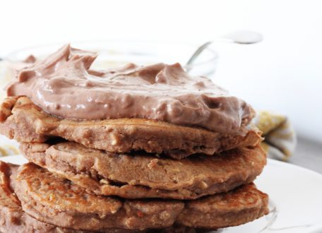 Chocolate Coconut Protein Pancakes with Healthy Chocolate Frosting