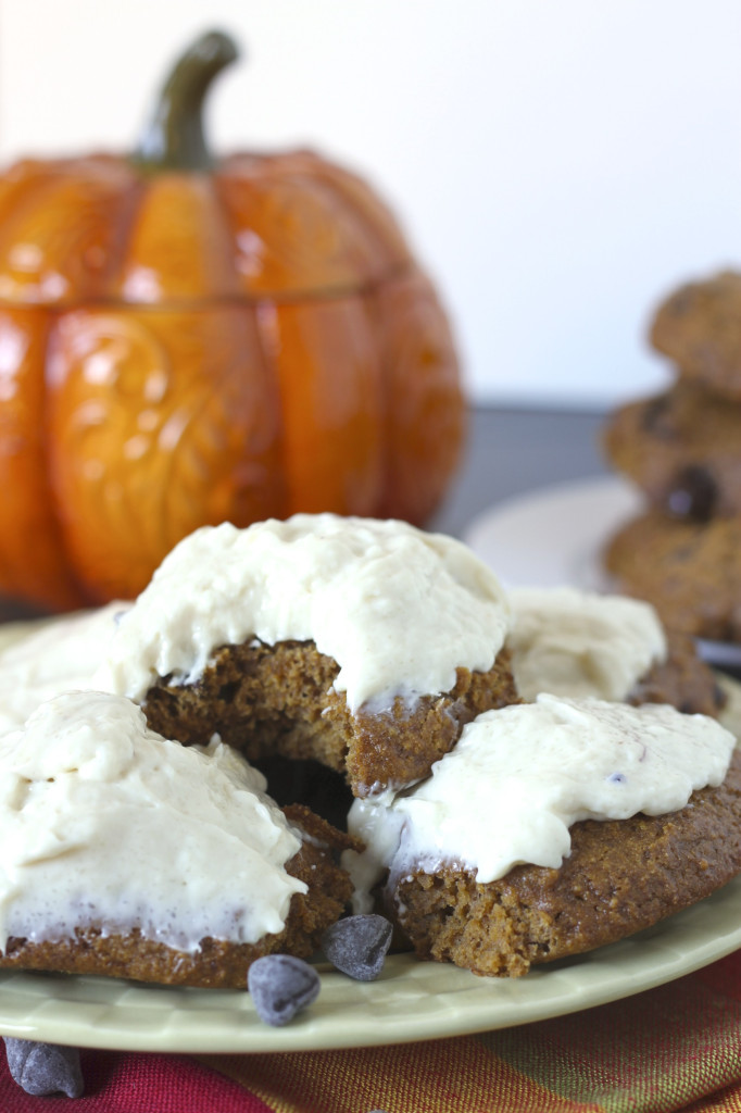 Healthy Chocolate Pumpkin Cookies with Cream Cheese Icing