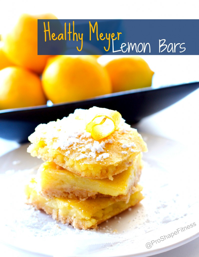 Healthy Meyer Lemon Bars. This healthy version is only 87 calories a bar and tastes better than the original! Click here for the recipe: : https://proshapefitness.com/2014/01/26/healthy-meyer-lemon-bars/