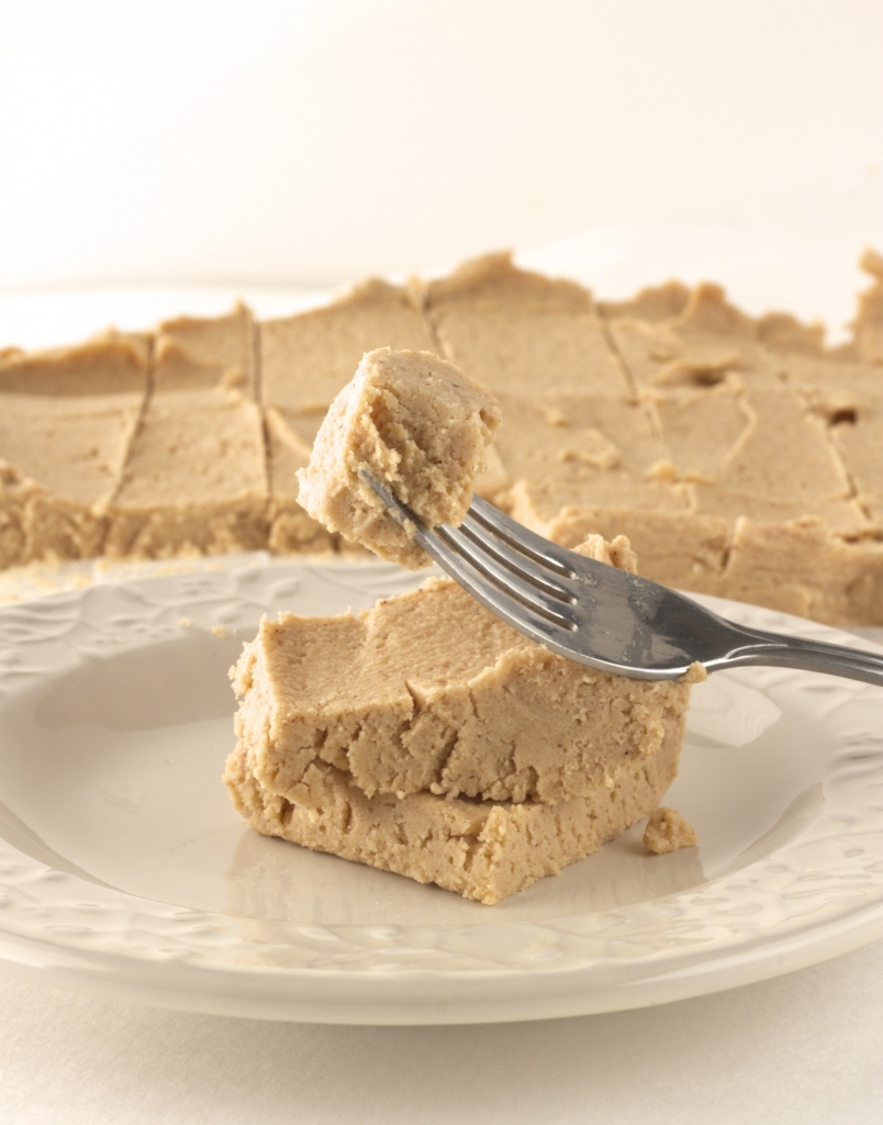 Healthy Peanut Butter Protein Fudge. It tastes just like a peanut butter cookie! Click for recipe!