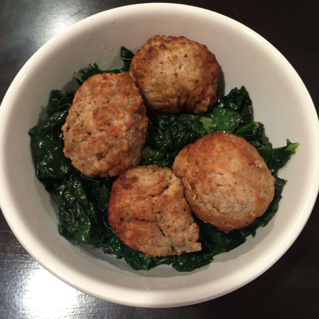 kale and meatballs